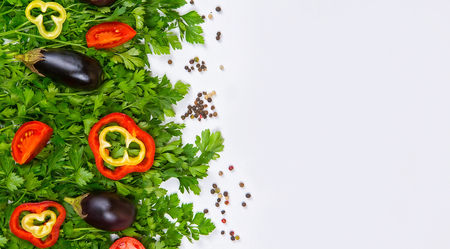 Parsley on a white background, vegetables and greens on a white background, a background of vegetables