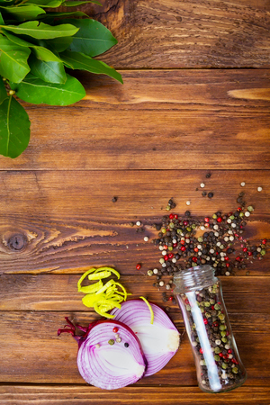 Spices frame on wooden table Stock Photo