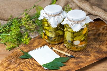 marinated cucumbers, cucumbers in a bowl, Cucumber pickle set Stock Photo