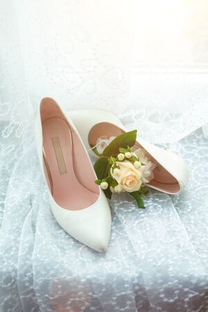 wedding attributes of brides. wedding accessories. wedding trifles 스톡 콘텐츠