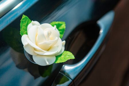 Car with decorations from flower for driving bride and groom during wedding 스톡 콘텐츠