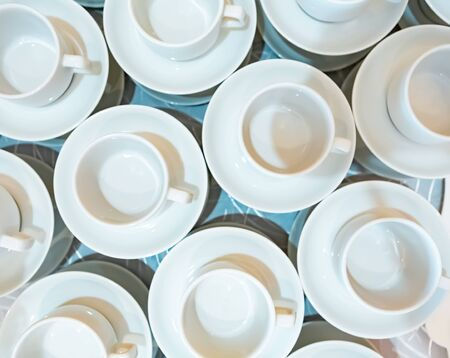 many cups background . top view 스톡 콘텐츠