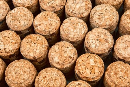 Background from textured wine corks, top view. place for text