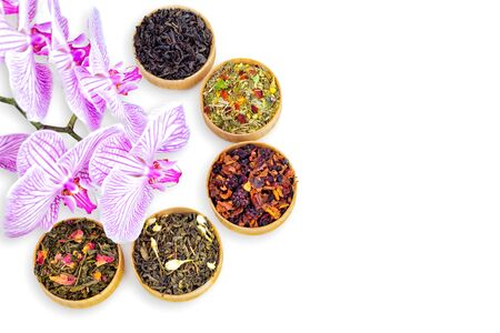 different types of tea on a white background. a kind of delicious tea, fruit tea. top view. place for text