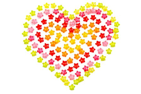 background. heart with colored stars on white isolated background.
