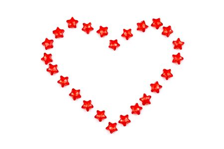 background. heart with red stars on white isolated background.