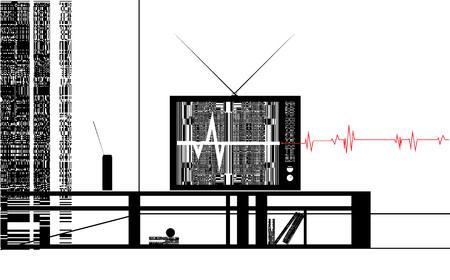 living room wall: Vector illustration TV in the room