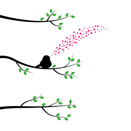 warble: The bird on a tree branch and sings about love Illustration