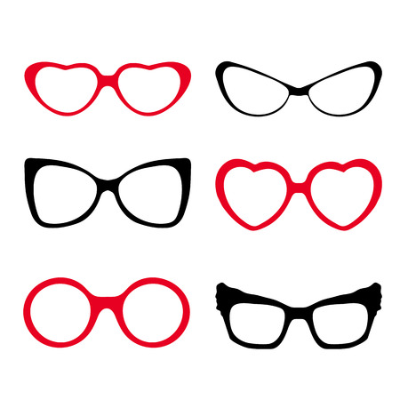 Set of modern fashion glasses