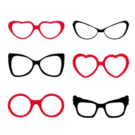 eye glasses: Set of modern fashion glasses