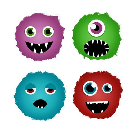 Cartoon monster faces set. Vector
