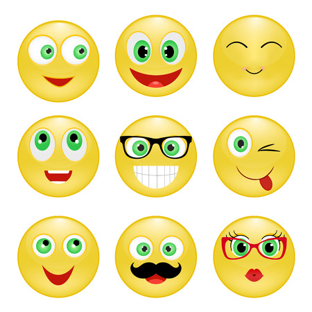green face: Set of Emoticons. Emoji. Yellow happy smiley with glasses, mustache