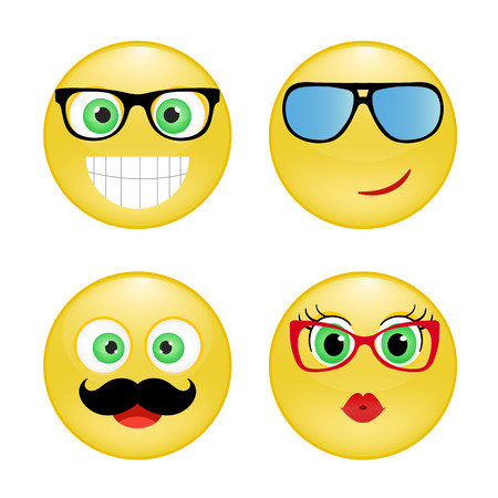 smiley: Set of Emoticons. Emoji. Yellow happy smiley with glasses, mustache