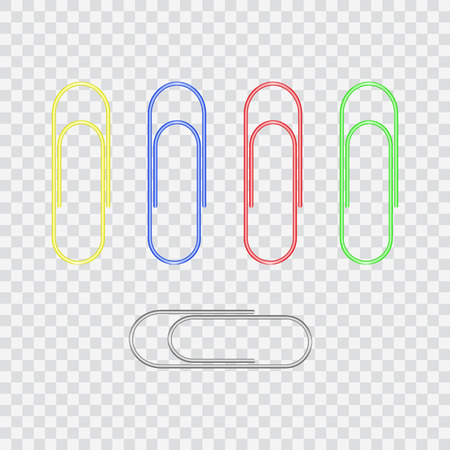 paper clips: Set of colored metal realistic paper clips. Illustration