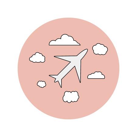 honeymoon: Wedding flat icon of airplane and clouds, honeymoon Illustration