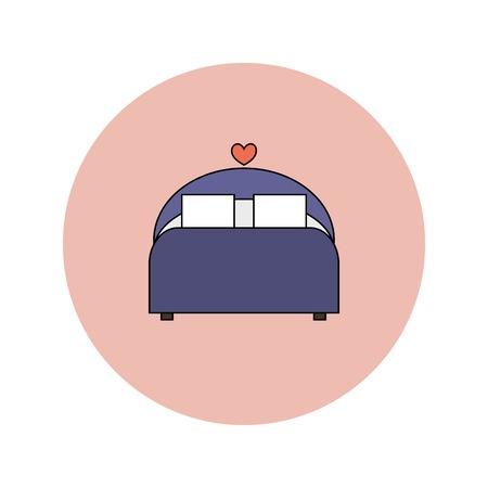 wedding night: Wedding flat icon of comfortable bed, wedding night Illustration