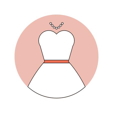 Mariage icône plat de robe de mariée blanche Vecteurs