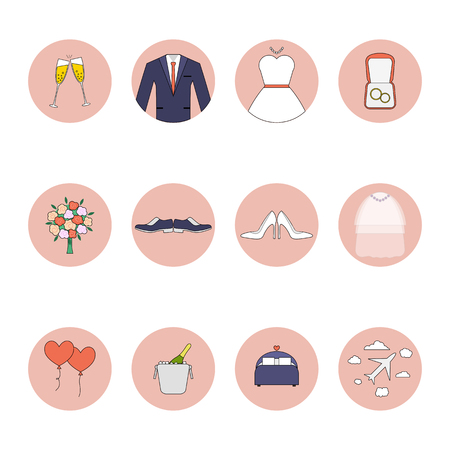 marriage bed: Wedding flat icons set. Bride, groom, rings, love, flowers, dress and other objects. Illustration