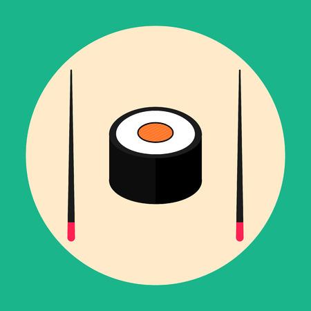 chopsticks: Sushi with chopsticks, flat design