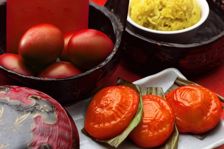 Chinese food prepared for full moon celebration Stock Photo