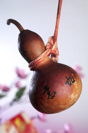 Wu lou Gourd  as feng shui decoration with text luck Banco de Imagens