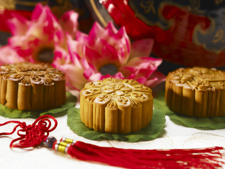 moon cakes on lotus leaves