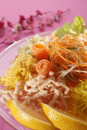 close up of the yusheng  for the chinese new year