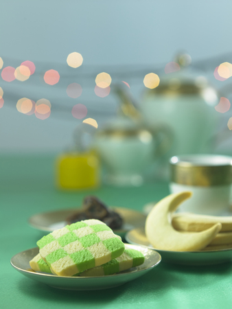checker cookies shape like ketupat with pelita Stock Photo