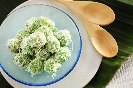 Top view malaysia traditional food kueh ondeh ondeh Stock Photo