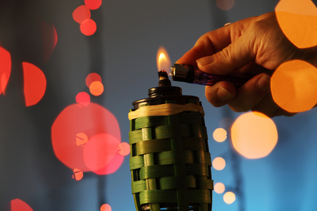 celebration hari raya lighten the oil lamp