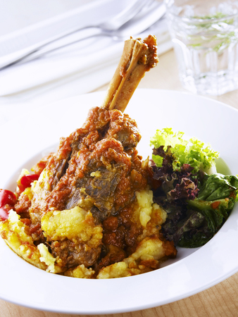 main course of lamb shank ready to eat