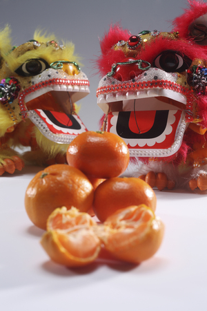 lion dance with mandarin oranges