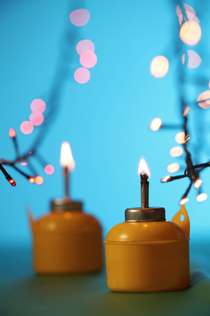 pelita with the the chasing light as background Stock Photo