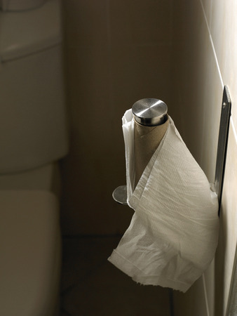 The last sheet of toilet paper hanging