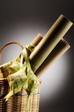 lemang and ketupat in the basket