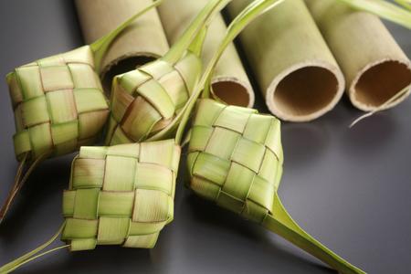 close up of the lemang and ketupat