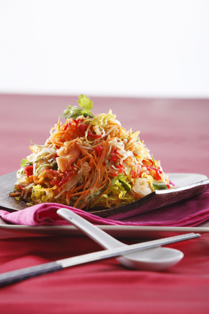 yusheng  on the red table cloth