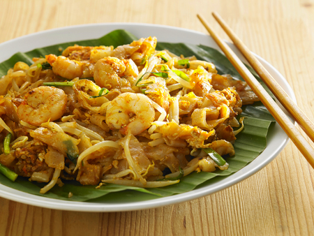 malaysian famous food Penang fried kuey teow with prawn