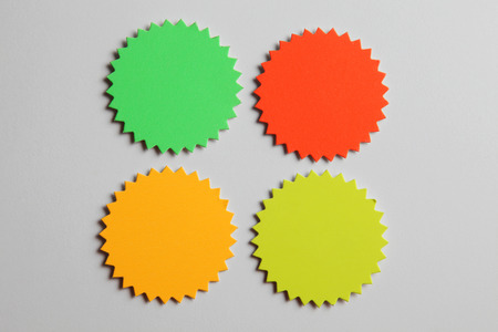 blank tag or starburst on the plain color background
