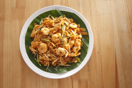 Top view of malaysian famous food Penang fried kuey teow