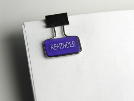 close up of reminder clip on the document