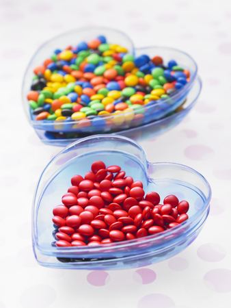 chocolate candy on the blue container