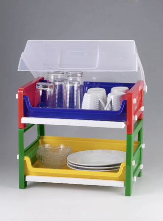 Dish organizer with cover.