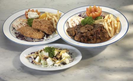 A varity of western cuisine