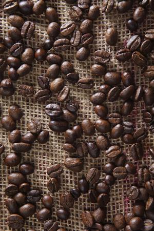 coffee bean on the sack cloth