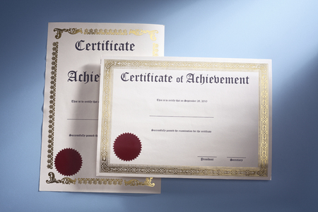 two certificate on the blue background