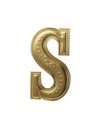 stock image of gold color alphabet with clipping path Banco de Imagens