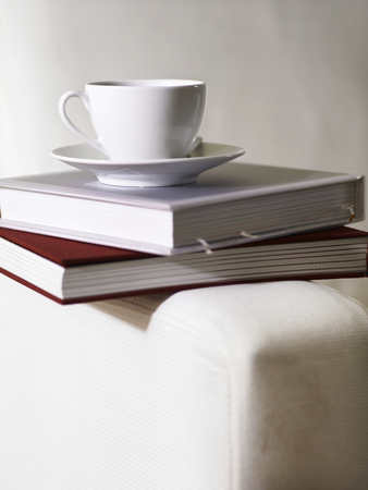 Tea cup on top of Books on a sofa