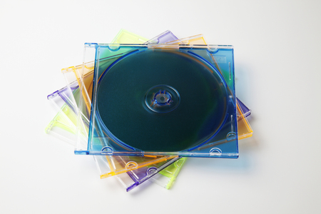 Studio shot of plastic CD or DVD case on plain background