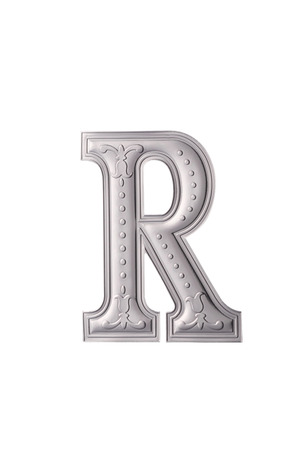 stock image of the silver color alphabet r Stock Photo